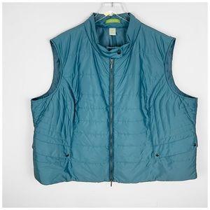 Sigrid Olsen Teal Green Puffer Vest 3X